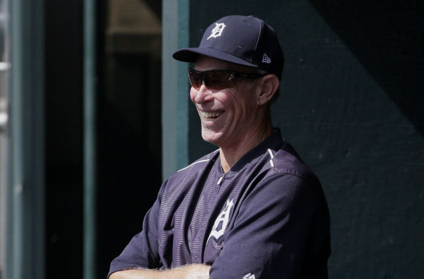 DETROIT, MI - SEPTEMBER 20: Alan Trammell, former Detroit Tigers shortstop and currently a special assistant to General Manager Al Avila, visits the dugout during a game against the Oakland Athletics at Comerica Park on September 20, 2017 in Detroit, Michigan. (Photo by Duane Burleson/Getty Images)