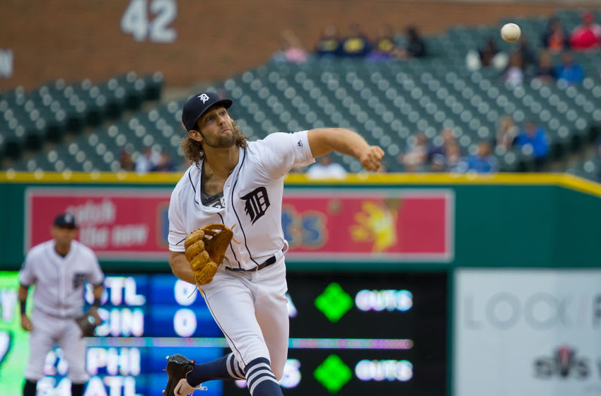 DETROIT, MI - JUNE 06: Starting pitcher Daniel Norris #44 of the Detroit Tigers throws in the first inning during a MLB game against the Los Angeles Angels at Comerica Park on June 6, 2017 in Detroit, Michigan. (Photo by Dave Reginek/Getty Images)