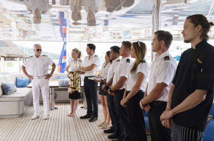 BELOW DECK -- Pictured: (l-r) Captain Lee Rosbach, Kate Chastain, Josiah Carter, Laura Betancourt, Ross Inia, Ashton Pienaar, Rhylee Gerber, Tyler Rowland, Adrian Martin -- (Photo by: Greg Endries/Bravo)