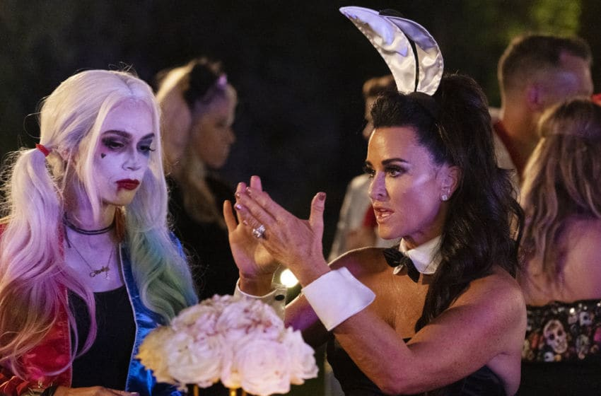 THE REAL HOUSEWIVES OF BEVERLY HILLS, Teddi Mellencamp Arroyave, Kyle Richards (Photo by: Isabella Vosmikova/Bravo)