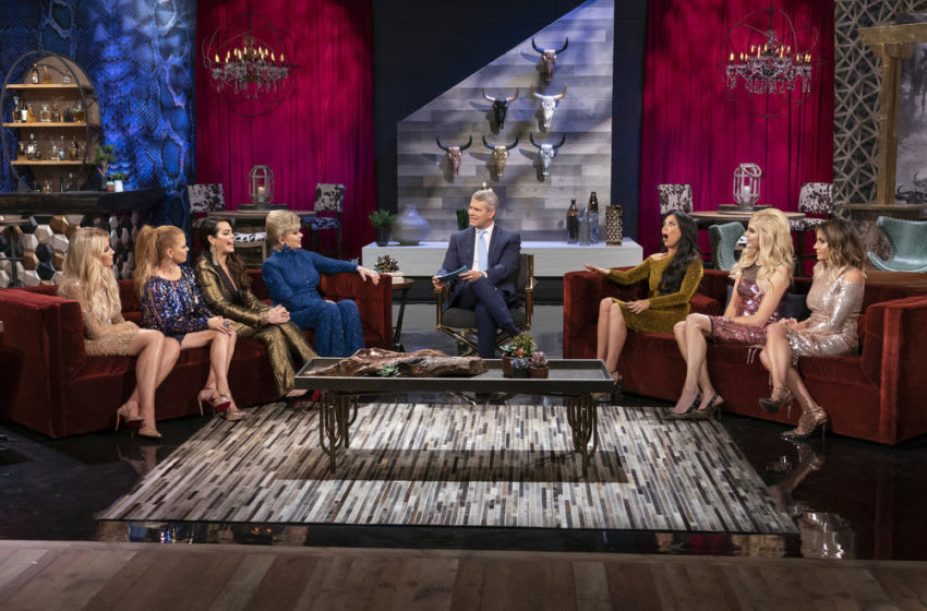 THE REAL HOUSEWIVES OF DALLAS: Stephanie Hollman, Brandi Redmond, D'Andra Simmons, Dee Simmons, Andy Cohen, LeeAnne Locken, Kameron Westcott, Cary Deuber (Photo by: Greg Endries/Bravo)