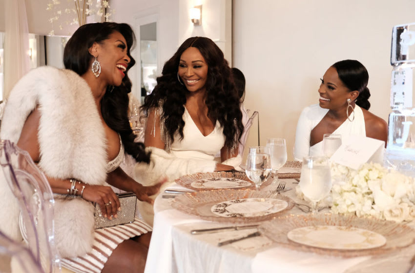 THE REAL HOUSEWIVES OF ATLANTA PORSHA'S HAVING A BABY -- Pictured: (l-r) Kenya Moore, Cynthia Bailey, Shamea Morton -- (Photo by: Annette Brown/Bravo)