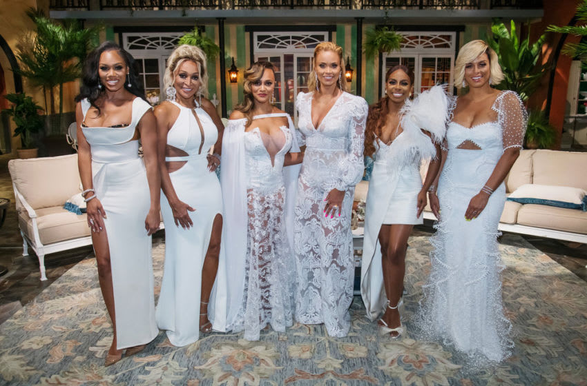 THE REAL HOUSEWIVES OF POTOMAC -- Pictured: (l-r) Monique Samuels, Karen Huger, Ashley Boalch Darby, Gizelle Bryant, Candiace Dillard Bassett, Robyn Dixon -- (Photo by: Charles Sykes/Bravo