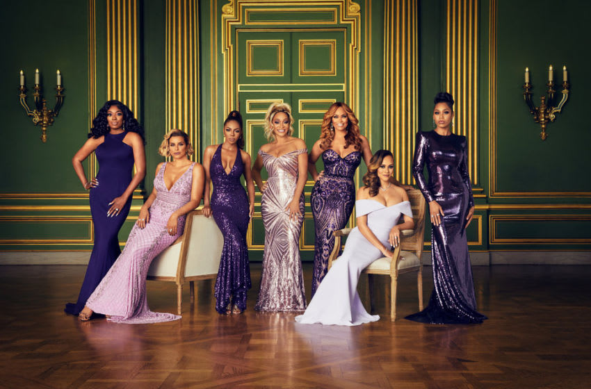 THE REAL HOUSEWIVES OF POTOMAC, Wendy Osefo, Robyn Dixon, Candiace Dillard, Karen Huger, Gizelle Bryant, Ashley Darby, Monique Samuels (Photo by: Sophy Holland/Bravo)