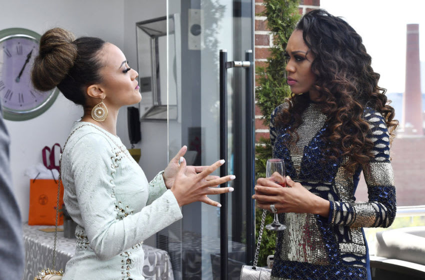 THE REAL HOUSEWIVES OF POTOMAC, Ashley Boalch Darby, Monique Samuels -- (Photo by: Larry French/Bravo)
