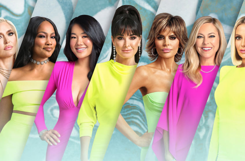 THE REAL HOUSEWIVES OF BEVERLY HILLS -- Season:11 -- Pictured: (l-r) Erika Girardi, Garcelle Beauvais, Crystal Kung Minkoff, Kyle Richards, Lisa Rinna, Sutton Stracke, Dorit Kemsley -- (Photo by: John Tsiavis/Bravo)