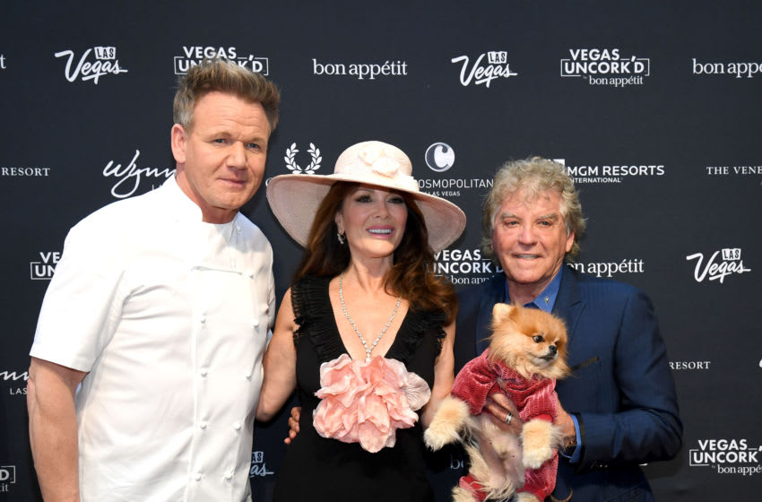 LAS VEGAS, NEVADA - MAY 10: (L-R) Chef Gordon Ramsay, television personality Lisa Vanderpump and her husband Ken Todd attend the 13th annual Vegas Uncork'd by Bon Appetit Grand Tasting event presented by the Las Vegas Convention and Visitors Authority at Caesars Palace on May 10, 2019 in Las Vegas, Nevada. (Photo by Ethan Miller/Getty Images for Vegas Uncork'd by Bon Appetit)