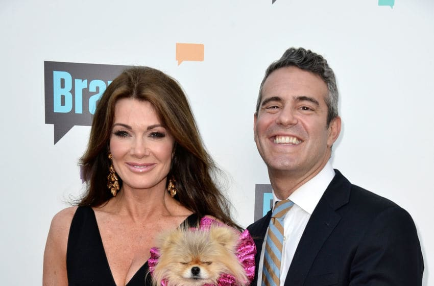 NORTH HOLLYWOOD, CA - MAY 22: Television Personality Lisa Vanderpump, and TV host Andy Cohen arrive at Bravo Media's 2013