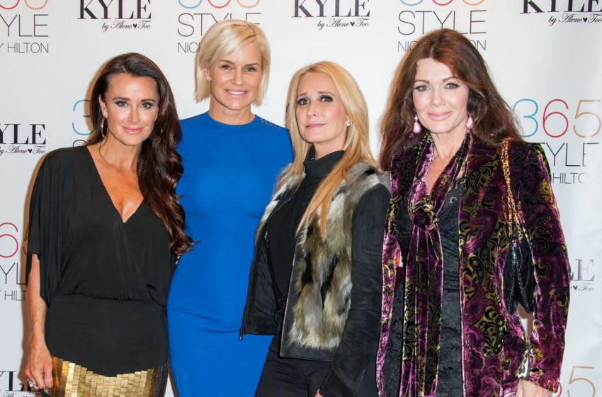BEVERLY HILLS, CA - OCTOBER 21: (L-R) Kyle Richards, Yolanda Foster, Kim Richards and Lisa Vanderpump attend Nicky Hilton's