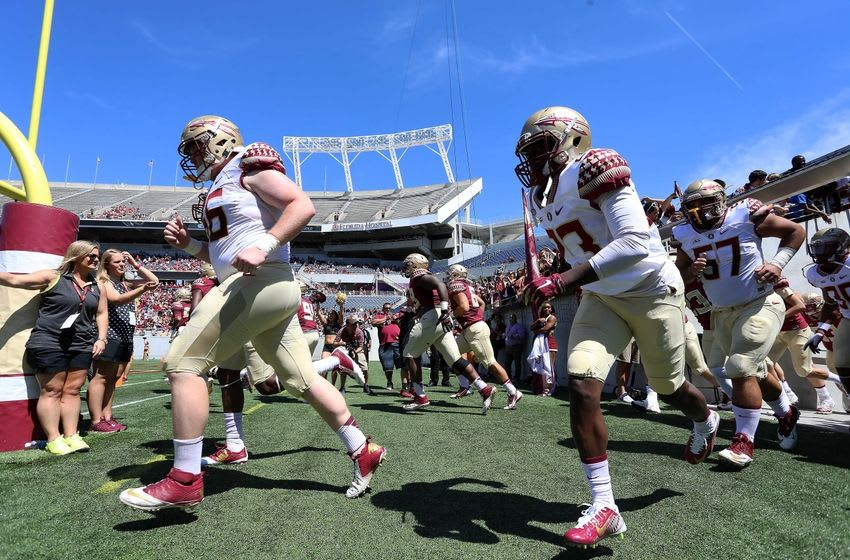 Apr 9, 2016; Orlando, FL, USA; Florida State runs out of the tunnel prior to the Florida State spring game at the Citrus Bowl. Mandatory Credit: Logan Bowles-USA TODAY Sports