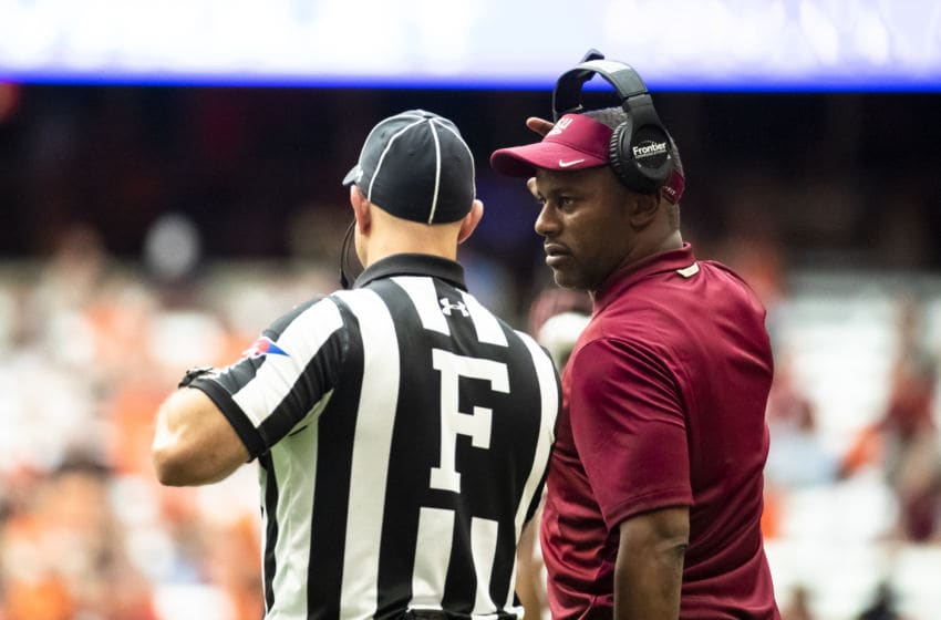 SYRACUSE, NY - SEPTEMBER 15: Head coach Willie Taggart of the Florida State Seminoles speaks with officials during the second quarter against the Syracuse Orange at the Carrier Dome on September 15, 2018 in Syracuse, New York. (Photo by Brett Carlsen/Getty Images)