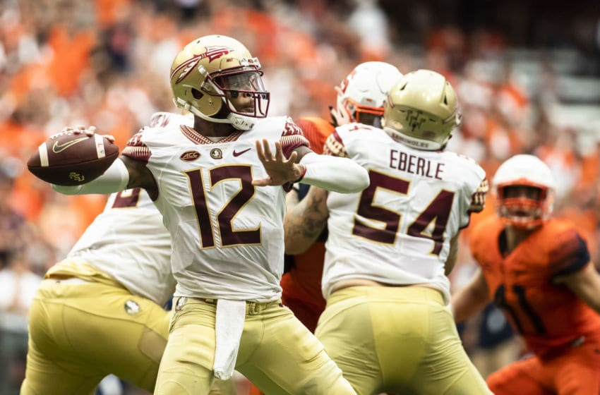 SYRACUSE, NY - SEPTEMBER 15: Deondre Francois #12 of the Florida State Seminoles passes the ball during the second half against the Syracuse Orange at the Carrier Dome on September 15, 2018 in Syracuse, New York. Syracuse defeats Florida State 30-7. (Photo by Brett Carlsen/Getty Images)