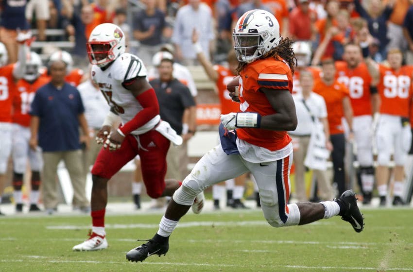 CHARLOTTESVILLE, VA - SEPTEMBER 22: Bryce Perkins #3 of the Virginia Cavaliers rushes in the second half during a game against the Louisville Cardinals at Scott Stadium on September 22, 2018 in Charlottesville, Virginia. (Photo by Ryan M. Kelly/Getty Images)