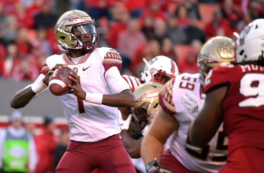 RALEIGH, NC - NOVEMBER 03: James Blackman #1 of the Florida State Seminoles drops back to pass against the North Carolina State Wolfpack at Carter-Finley Stadium on November 3, 2018 in Raleigh, North Carolina. (Photo by Lance King/Getty Images)