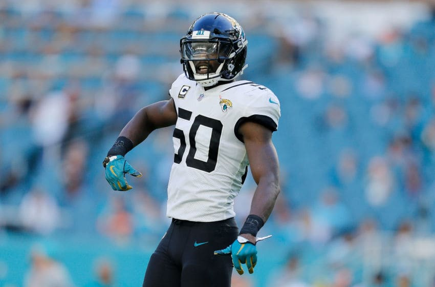 MIAMI, FL - DECEMBER 23: Telvin Smith #50 of the Jacksonville Jaguars celebrates against the Miami Dolphins at Hard Rock Stadium on December 23, 2018 in Miami, Florida. (Photo by Michael Reaves/Getty Images)