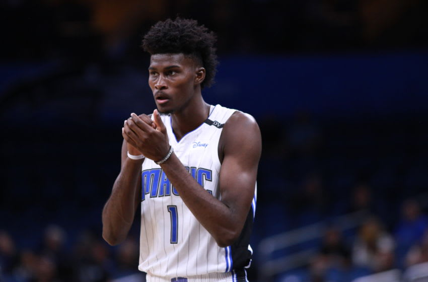 ORLANDO, FLORIDA - DECEMBER 05: Jonathan Isaac #1 of the Orlando Magic reacts in overtime against the Denver Nuggets at Amway Center on December 05, 2018 in Orlando, Florida. (Photo by Harry Aaron/Getty Images)