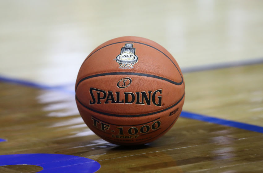 CHARLOTTE, NORTH CAROLINA - MARCH 13: A detailed view of a basketball during the second round of the 2019 Men's ACC Basketball Tournament at Spectrum Center on March 13, 2019 in Charlotte, North Carolina. (Photo by Streeter Lecka/Getty Images)