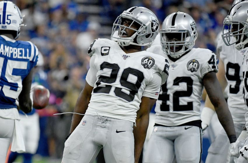 INDIANAPOLIS, IN - SEPTEMBER 29: Lamarcus Joyner #29 of the Oakland Raiders reacts after making a tackle for a loss during the fourth quarter of the game against the Indianapolis Colts at Lucas Oil Stadium on September 29, 2019 in Indianapolis, Indiana. (Photo by Bobby Ellis/Getty Images)