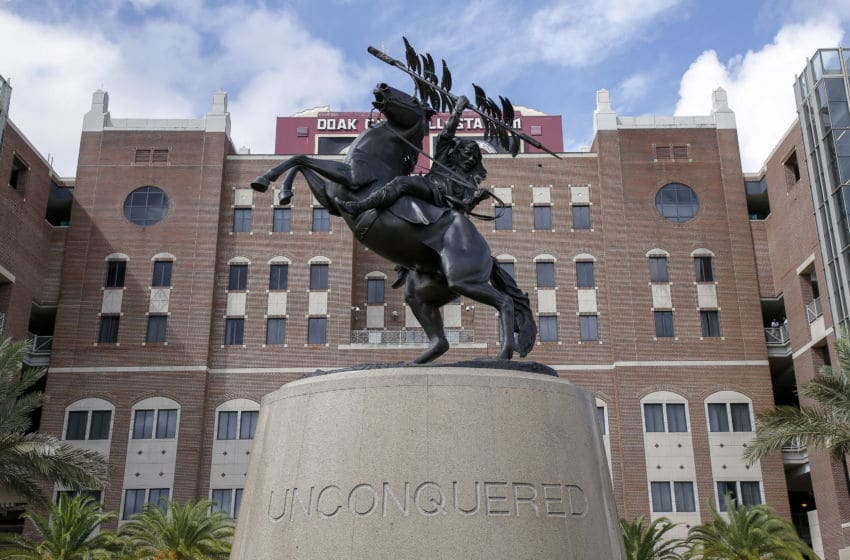 TALLAHASSEE, FL - OCTOBER 26: A general view of the Unconquered Statue in front of Doak Campbell before the Florida State Seminoles host the Syracuse Orange at Doak Campbell Stadium on Bobby Bowden Field on October 26, 2019 in Tallahassee, Florida. (Photo by Don Juan Moore/Getty Images)