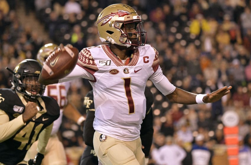 WINSTON SALEM, NORTH CAROLINA - OCTOBER 19: James Blackman #1 of the Florida State Seminoles rolls out against the Wake Forest Demon Deacons during the first half of their game at BB&T Field on October 19, 2019 in Winston Salem, North Carolina. (Photo by Grant Halverson/Getty Images)