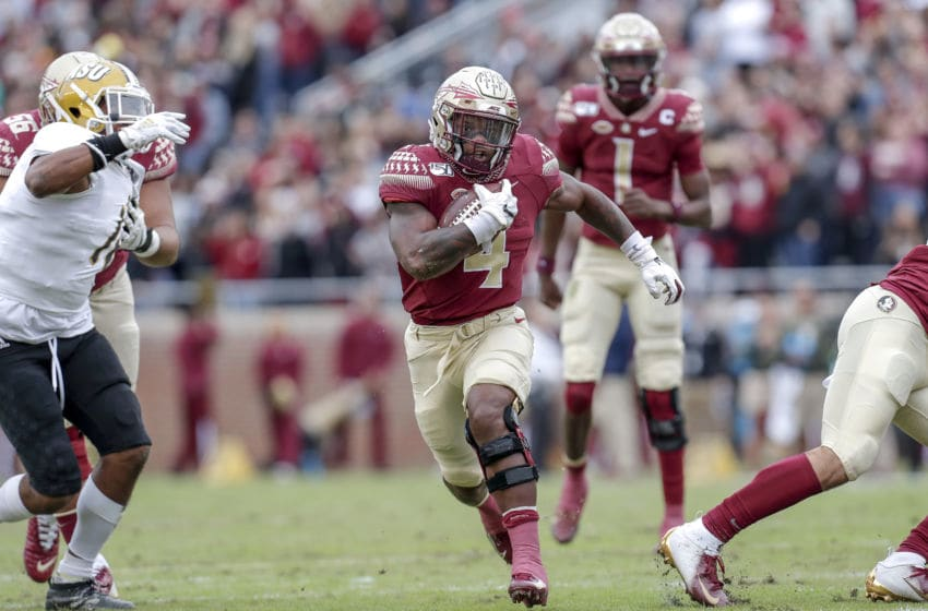 TALLAHASSEE, FL - NOVEMBER 16: Runningback Khalan Laborn #4 of the Florida State Seminoles on a running play during the game against the Alabama State Hornets at Doak Campbell Stadium on Bobby Bowden Field on November 16, 2019 in Tallahassee, Florida. The Seminoles defeated The Hornets 49 to 12. (Photo by Don Juan Moore/Getty Images)