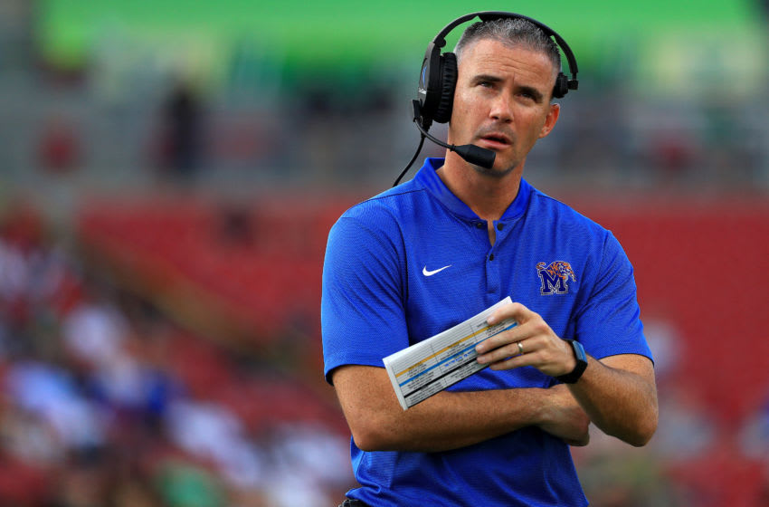 TAMPA, FLORIDA - NOVEMBER 23: Head coach Mike Norvell of the Memphis Tigers looks on during a game against the South Florida Bulls at Raymond James Stadium on November 23, 2019 in Tampa, Florida. (Photo by Mike Ehrmann/Getty Images)