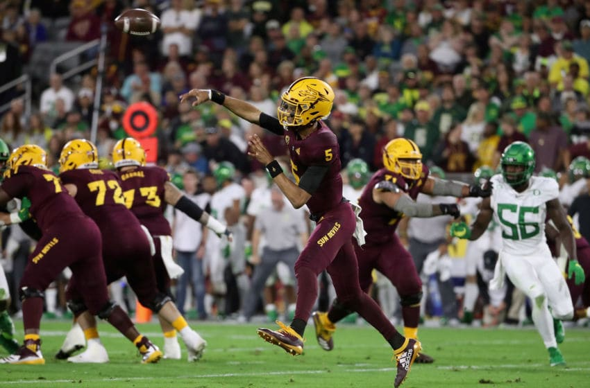 TEMPE, ARIZONA - NOVEMBER 23: Quarterback Jayden Daniels #5 of the Arizona State Sun Devils throws a pass during the first half of the NCAAF game against the Oregon Ducks at Sun Devil Stadium on November 23, 2019 in Tempe, Arizona. (Photo by Christian Petersen/Getty Images)