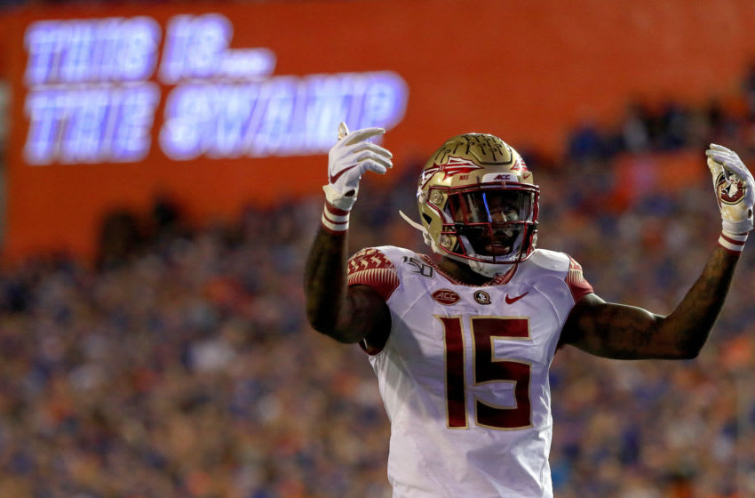 GAINESVILLE, FLORIDA - NOVEMBER 30: Tamorrion Terry #15 of the Florida State Seminoles looks on during a game against the Florida Gators at Ben Hill Griffin Stadium on November 30, 2019 in Gainesville, Florida. (Photo by Mike Ehrmann/Getty Images)