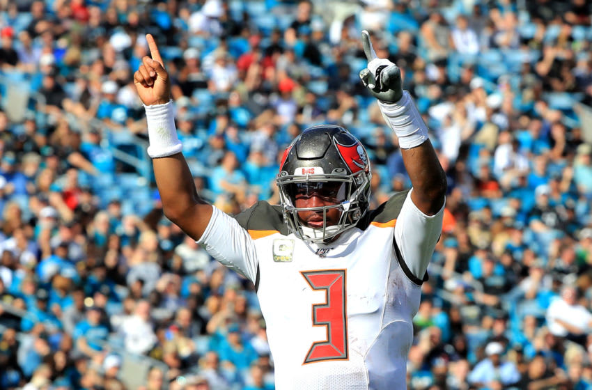 JACKSONVILLE, FLORIDA - DECEMBER 01: Jameis Winston #3 of the Tampa Bay Buccaneers celebrates a touchdown during the game against the Jacksonville Jaguars at TIAA Bank Field on December 01, 2019 in Jacksonville, Florida. (Photo by Sam Greenwood/Getty Images)