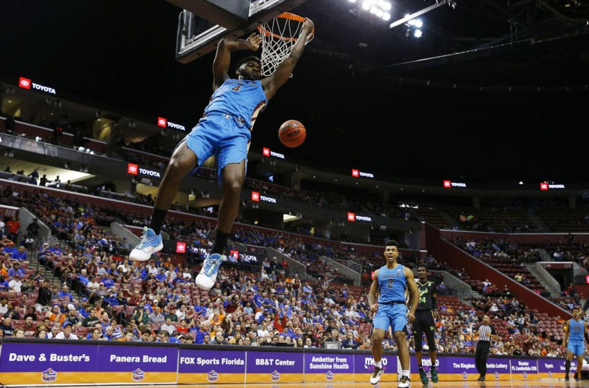 SUNRISE, FLORIDA - DECEMBER 21: Patrick Williams #4 of the Florida State Seminoles dunks against the South Florida Bulls during the second half of the Orange Bowl Basketball Classic at BB&T Center on December 21, 2019 in Sunrise, Florida. (Photo by Michael Reaves/Getty Images)
