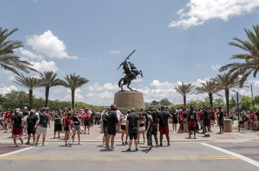 TALLAHASSEE, FL - JUNE 13: A general view of the Unconquered Statue before a unity walk on June 13, 2020 in Tallahassee, Florida. Florida State players and members of the football coaching staff led fans and supporters on a unity walk from the Doak Campbell Stadium on the Florida State University campus to the state capitol building in support of the Black Lives Matter movement. Protests erupted across the nation after George Floyd died in police custody in Minneapolis, Minnesota on May 25th. (Photo by Don Juan Moore/Getty Images)