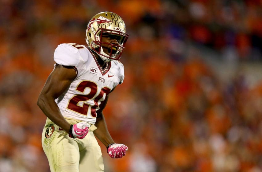 CLEMSON, SC - OCTOBER 19: Lamarcus Joyner #20 of the Florida State Seminoles reacts after a play against the Clemson Tigers during their game at Memorial Stadium on October 19, 2013 in Clemson, South Carolina. (Photo by Streeter Lecka/Getty Images)