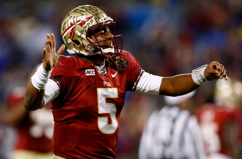 CHARLOTTE, NC - DECEMBER 07: Quarterback Jameis Winston #5 of the Florida State Seminoles reacts against the Duke Blue Devils during the ACC Championship game at Bank of America Stadium on December 7, 2013 in Charlotte, North Carolina. (Photo by Streeter Lecka/Getty Images)