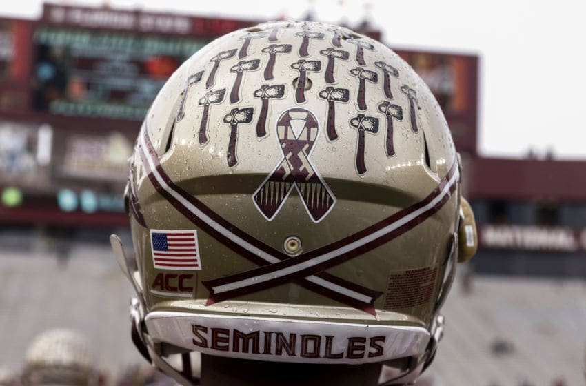 TALLAHASSEE, FL - NOVEMBER 22: A view of a special ribbon decal worn on the back of the helmets of the Florida State players to honor the victims of a shooting at the university library during a game against Boston College Eagles at Doak Campbell Stadium on Bobby Bowden Field on November 22, 2014 in Tallahassee, Florida. Earlier this week a gunman injured three students before officers fatally shot him. Third-ranked Florida State defeated Boston College 20 to 17. (Photo by Don Juan Moore/Getty Images)