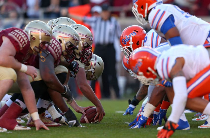 TALLAHASSEE, FL - NOVEMBER 29: The Florida State Seminoles line up against the Florida Gators during a game at Doak Campbell Stadium on November 29, 2014 in Tallahassee, Florida. (Photo by Mike Ehrmann/Getty Images)