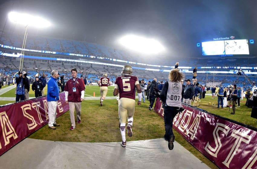 CHARLOTTE, NC - DECEMBER 06: Jameis Winston #5 of the Florida State Seminoles takes the firld for warmups before the Atlantic Coast Conference championship game against the Georgia Tech Yellow Jackets on December 6, 2014 at Bank of America Stadium in Greenville, North Carolina. (Photo by Grant Halverson/Getty Images)