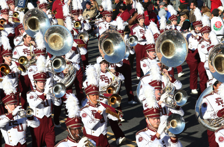 PASADENA, CA - JANUARY 01: The Florida State University Marching Chiefs march on the parade route during the 126th Rose Parade Presented by Honda on January 1, 2015 in Pasadena, California. (Photo by Frederick M. Brown/Getty Images)