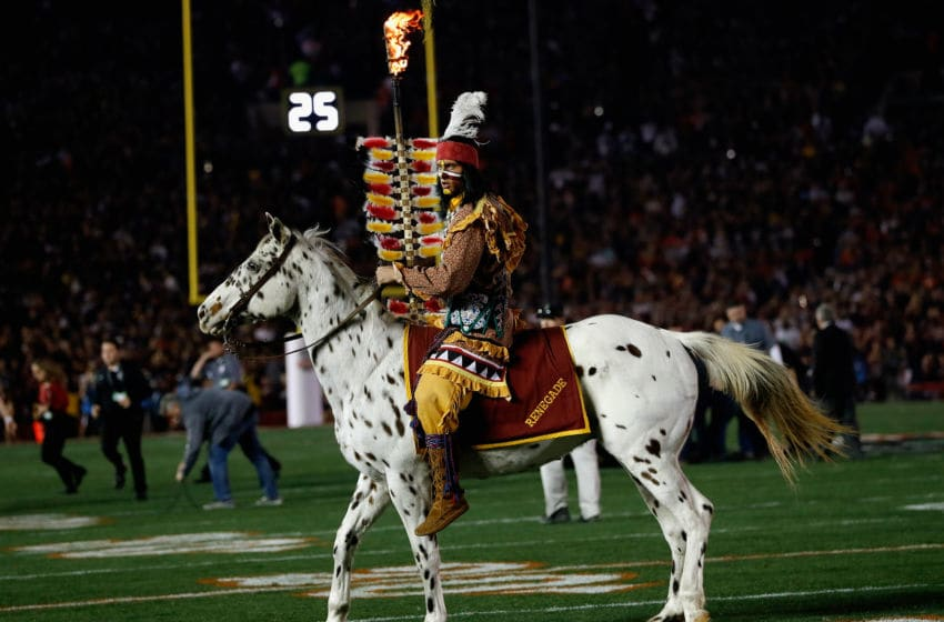 PASADENA, CA - JANUARY 06: Florida State Seminoles mascots Renegade and Osceola perform prior to the 2014 Vizio BCS National Championship Game against the Auburn Tigers at the Rose Bowl on January 6, 2014 in Pasadena, California. (Photo by Kevin C. Cox/Getty Images)