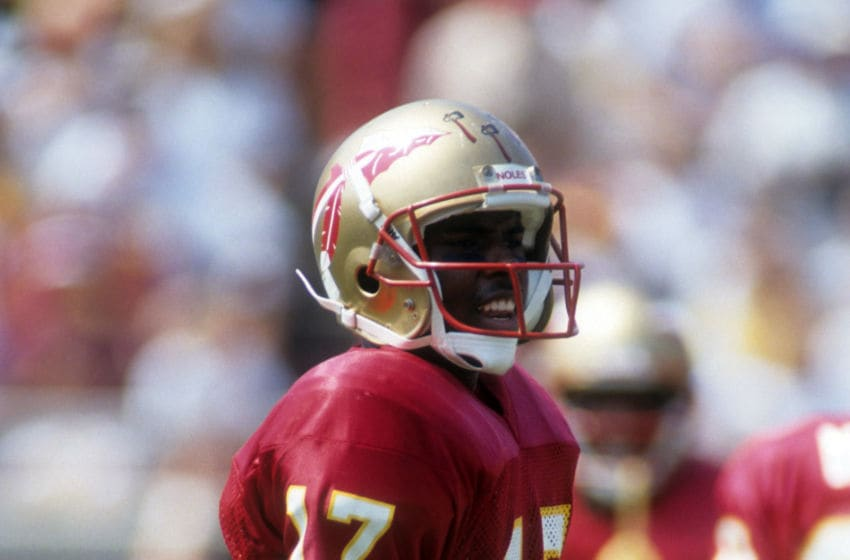 TALLAHASSEE, FL - SEPTEMBER 11: Quarterback Charlie Ward #17 of the Florida State Seminoles stands on the field during an NCAA game against the Clemson Tigers on September 11, 1993 at Doak Campbell Stadium in Tallahassee, Flroida. The Seminoles defeated the Tigers 57-0. (Photo by Scott Halleran/Getty Images)