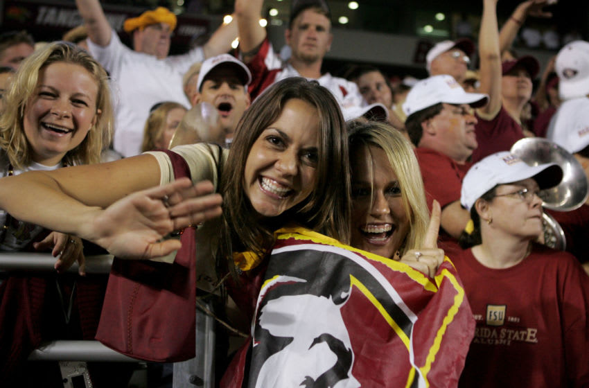 CHESTNUT HILL, MA - SEPTEMBER 17: Fans of the Florida State Seminoles celebrate their team's victory against the Boston College Eagles during their Atlantic Coast Conference game at Alumi Stadium on September 17, 2005 in Chestnut Hill, Massachusetts. Florida State defeated Boston College 28-17. (Photo by Jim McIsaac/Getty Images)