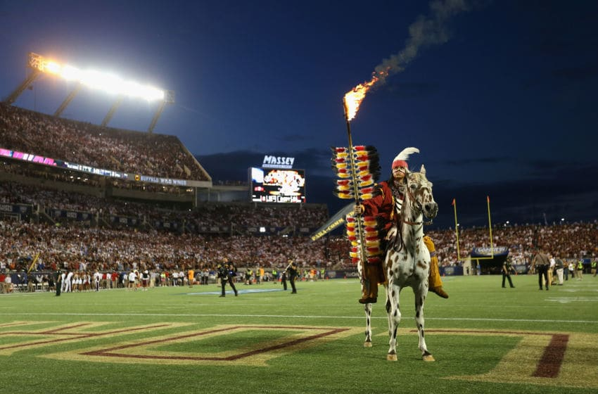ORLANDO, FL - SEPTEMBER 05: Mascots Osceola and Renegade of the Florida State Seminoles are seen on the field prior to the Camping World Kickoff game against the Mississippi Rebels at Camping World Stadium on September 5, 2016 in Orlando, Florida. (Photo by Streeter Lecka/Getty Images)