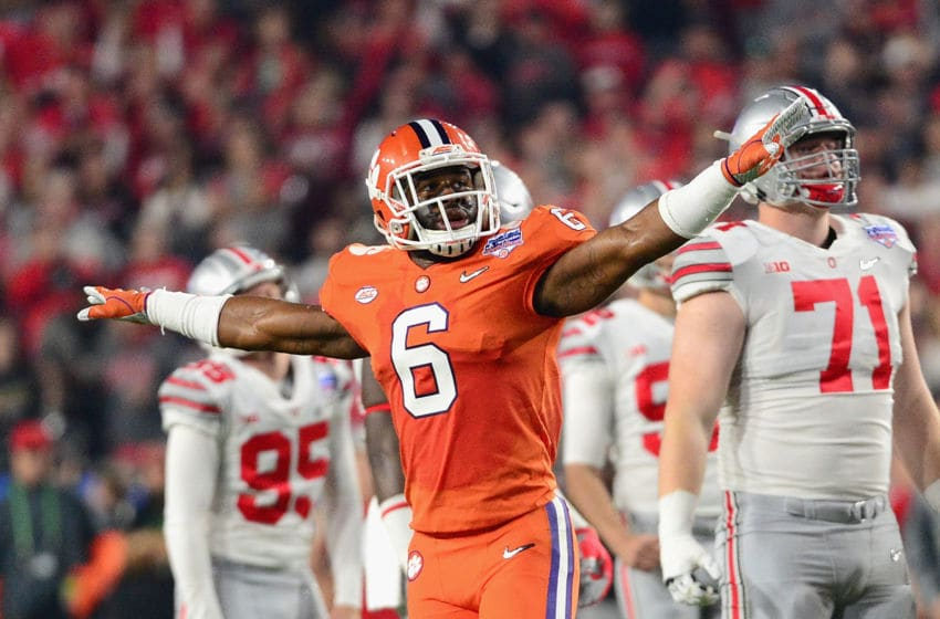GLENDALE, AZ - DECEMBER 31: Dorian O'Daniel #6 of the Clemson Tigers reacts after a missed field goal by the Ohio State Buckeyes during the first half of the 2016 PlayStation Fiesta Bowl at University of Phoenix Stadium on December 31, 2016 in Glendale, Arizona. (Photo by Jennifer Stewart/Getty Images)