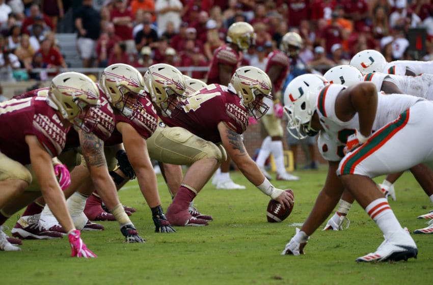 TALLAHASSEE, FL - OCTOBER 7: Florida State Seminoles line up against the Miami Hurricanes during the second half of an NCAA football game at Doak S. Campbell Stadium on October 7, 2017 in Tallahassee, Florida. (Photo by Butch Dill/Getty Images)