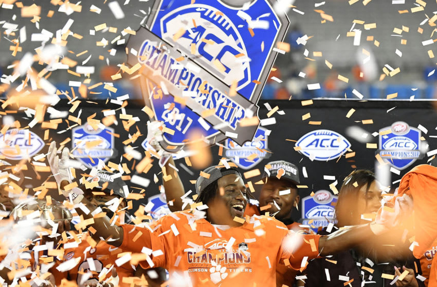CHARLOTTE, NC - DECEMBER 02: Deon Cain #8 of the Clemson Tigers celebrates after their victory over the Miami Hurricanes in the ACC Football Championship at Bank of America Stadium on December 2, 2017 in Charlotte, North Carolina. (Photo by Mike Comer/Getty Images)