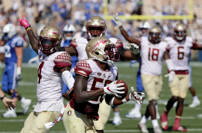 DURHAM, NC - OCTOBER 14: Emmett Rice #56 of the Florida State Seminoles reacts after an interception against the Duke Blue Devils during their game at Wallace Wade Stadium on October 14, 2017 in Durham, North Carolina. (Photo by Streeter Lecka/Getty Images)