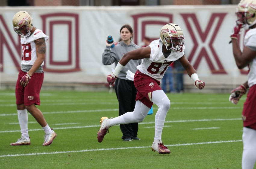 Tight end Camren McDonald (87) runs during Florida State University football's first spring practice Monday, March 4, 2019. 030419 Ts 350