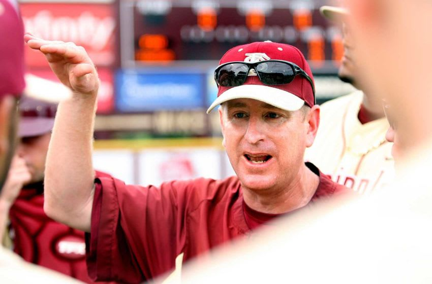 2012: Mike Martin Jr., has a short talk with the team as Florida State hosts Stanford in an NCAA Division 1 2012 Baseball Championship Super Regional game. Fsu Bbl 061012 Gb 11