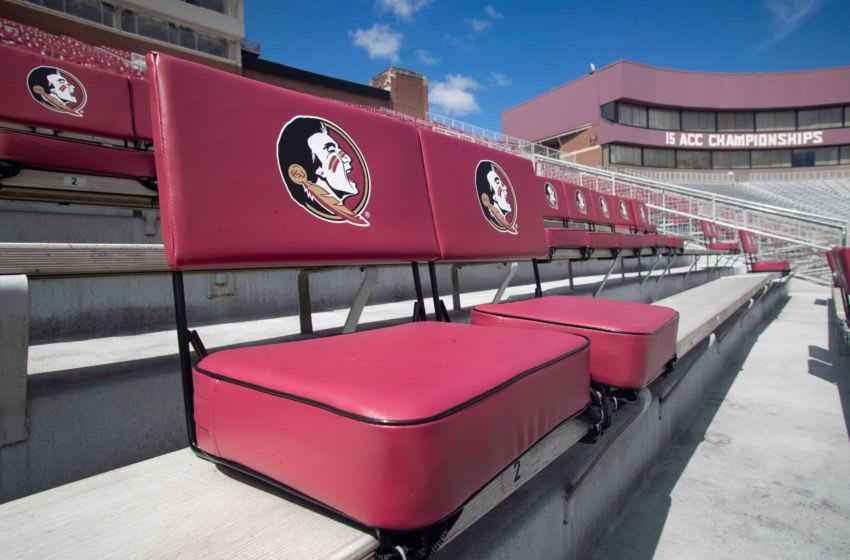 Chair-backs are staggered throughout the bowl of Doak Campbell Stadium to provide social distancing between groups of fans. Doak Corona Set Up267
