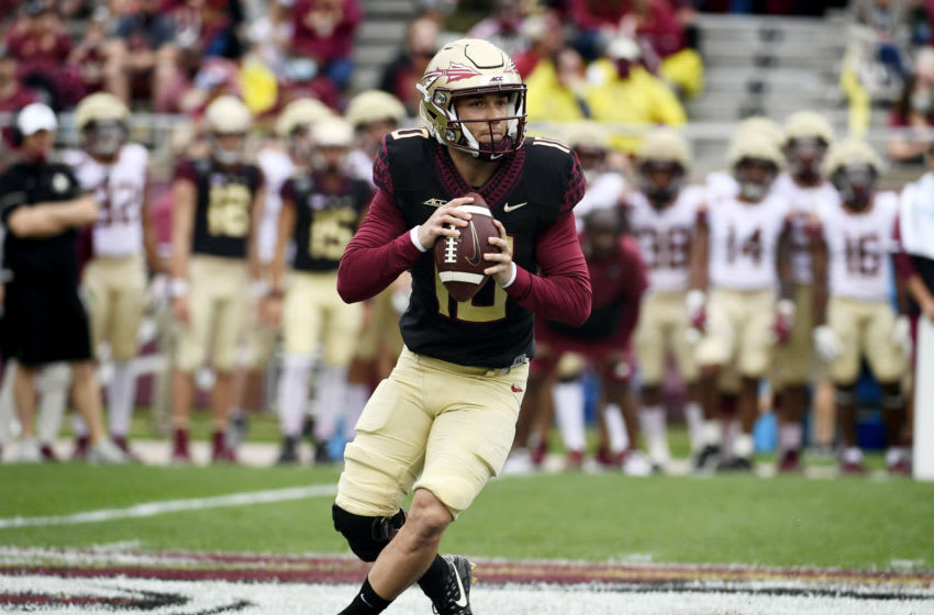 Apr 10, 2021; Tallahassee, Florida, USA; Florida State Seminoles quarterback McKenzie Milton (10) drops back to pass during the annual Garnet and Gold Spring Game held at Doak Campbell Stadium. Mandatory Credit: Melina Myers-USA TODAY Sports