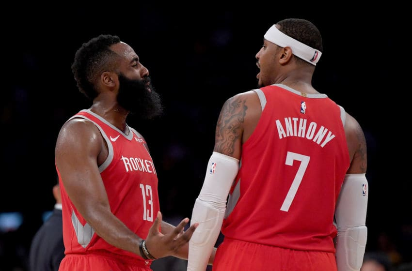 LOS ANGELES, CA - OCTOBER 20: James Harden #13 of the Houston Rockets and Carmelo Anthony #7 of the Houston Rockets talk during a break in the game against the Los Angeles Lakers at Staples Center on October 20, 2018 in Los Angeles, California. (Photo by Harry How/Getty Images)